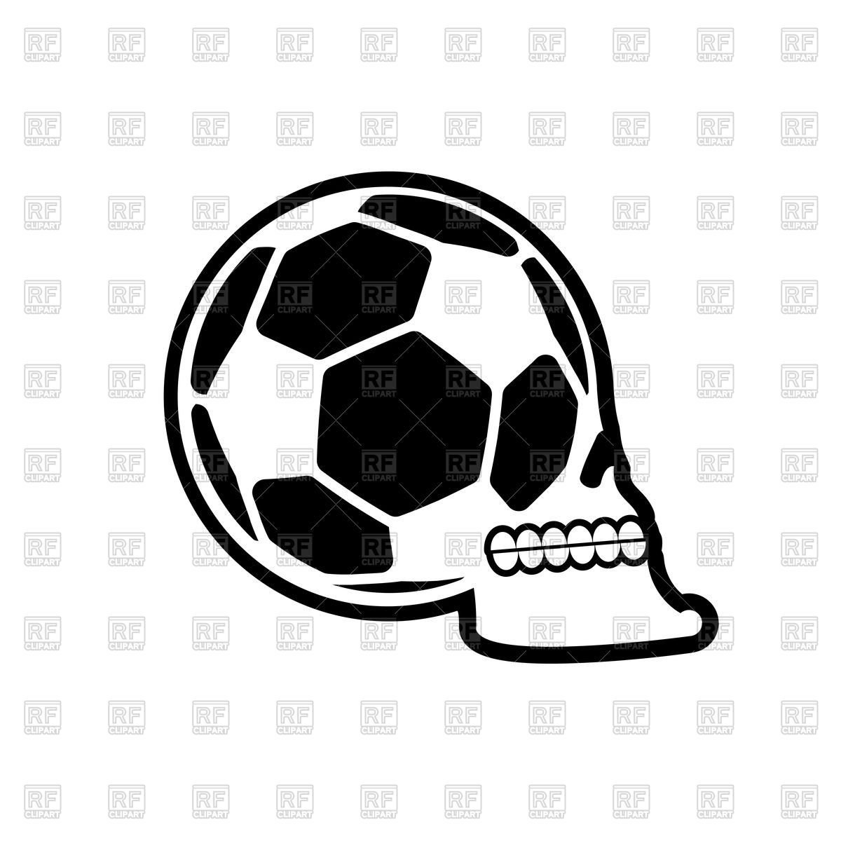 1200x1200 Soccer Ball Skull Royalty Free Vector Clip Art Image