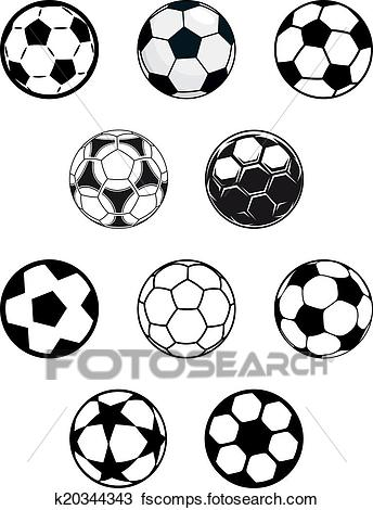 344x470 Clipart Of Set Of Soccer Or Football Balls K20344343