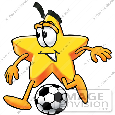 450x450 Clip Art Graphic of a Yellow Star Cartoon Character Kicking a
