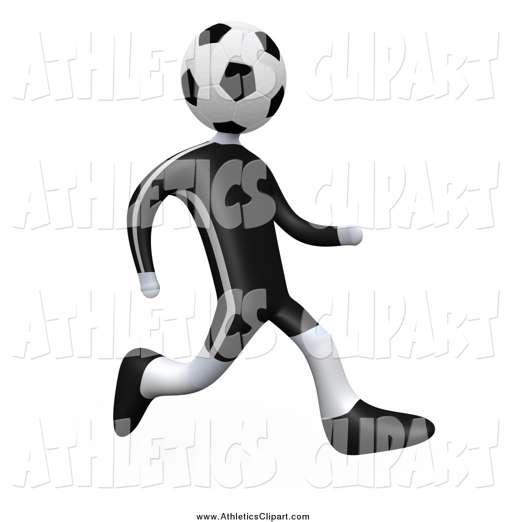 1024x1044 Clip Art of a 3d Soccer Ball Headed Player Person Running by 3poD