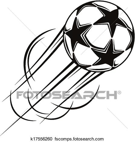 447x470 Clipart Of Soccer Ball With Stars Flying Through The Air K17556260