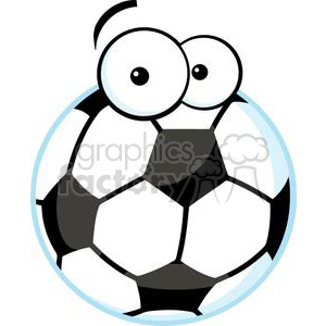 300x300 Royalty Free Soccer ball with cartoon eyes 379713 vector clip art