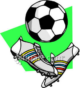 271x300 Soccer Ball and Soccer Cleats Royalty Free Clipart Picture