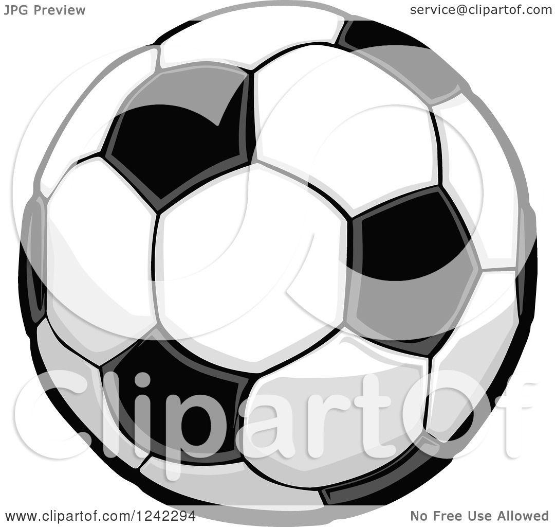 1080x1024 Clipart of a Black and White Soccer Ball