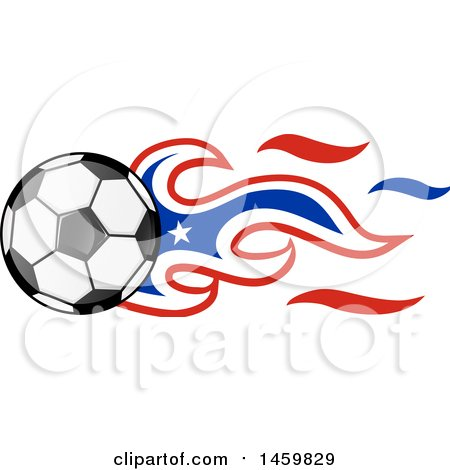 450x470 Clipart of a Soccer Ball with Chilean Flag Flames