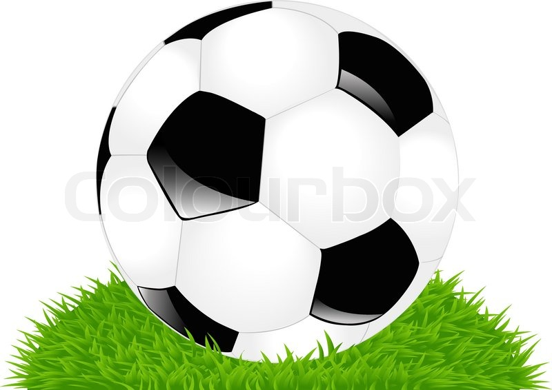 800x566 Classic Soccer Ball On Green Lawn, Isolated On White Stock