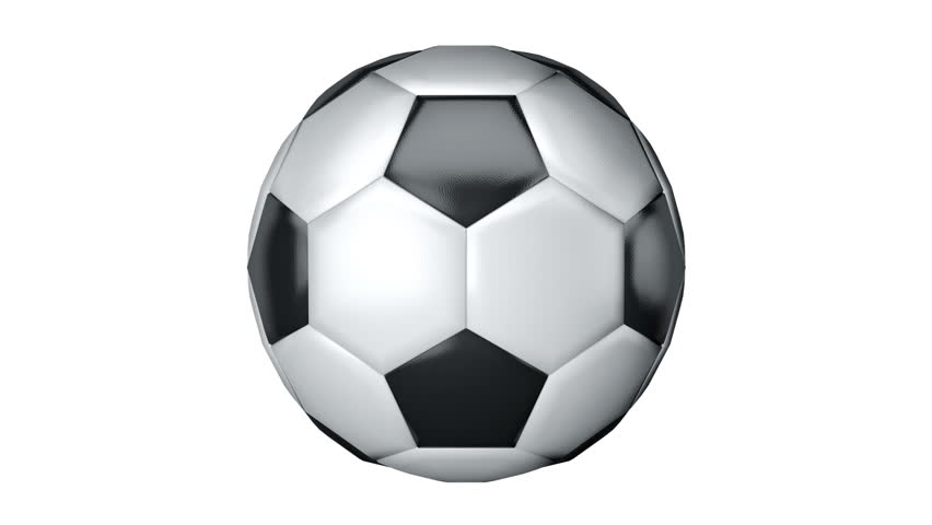 852x480 Ball For Soccer With Realistic Leather Texture Rotate On White