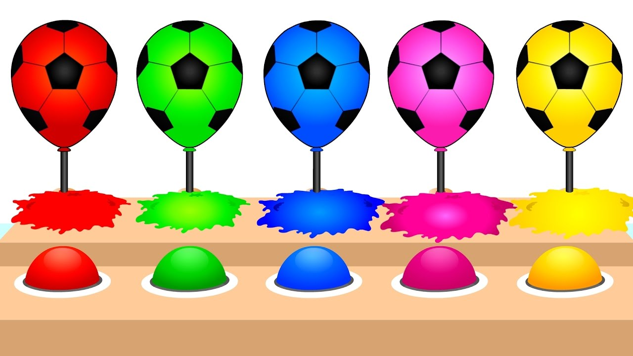 1280x720 Colors For Children Learn With Soccer Ball Balloons Watercolor
