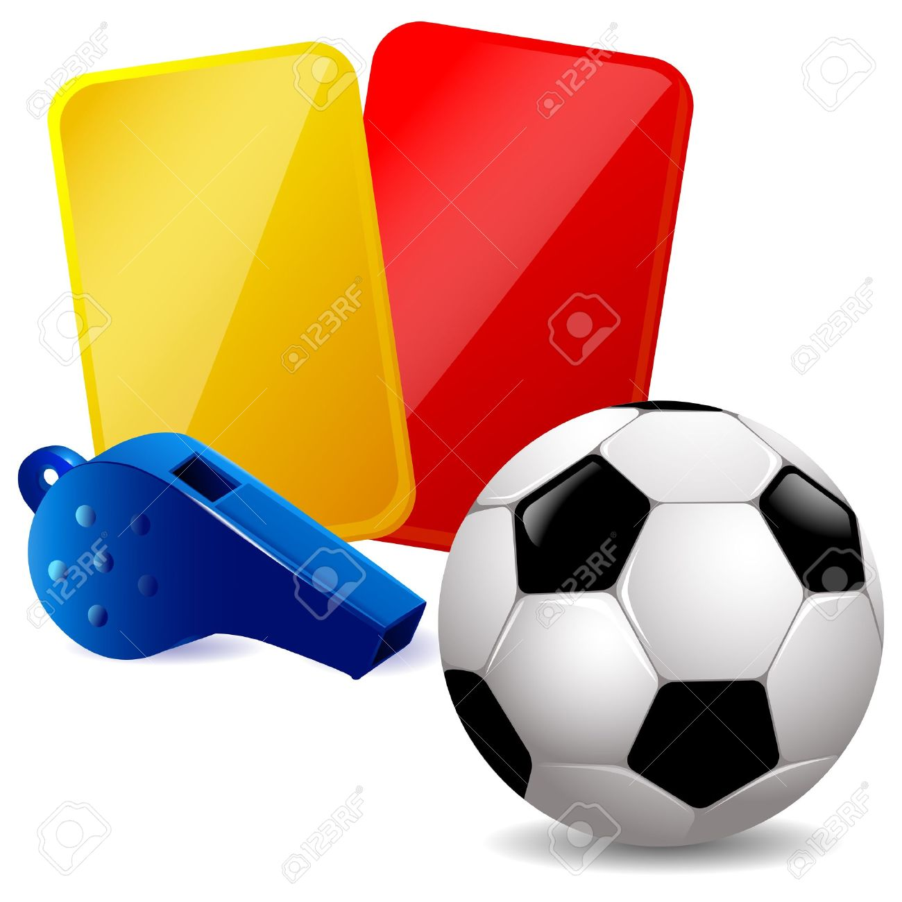 1300x1300 Soccer Ball, Whistle And Red And Yellow Cards Royalty Free