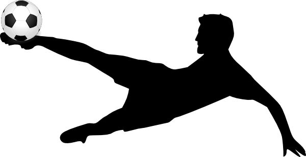 600x308 Kicking Soccer Ball Silhouette Free Clipart