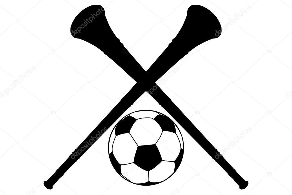 1023x685 Vuvuzela Horn And Soccer Ball Silhouette Isolation Stock Vector