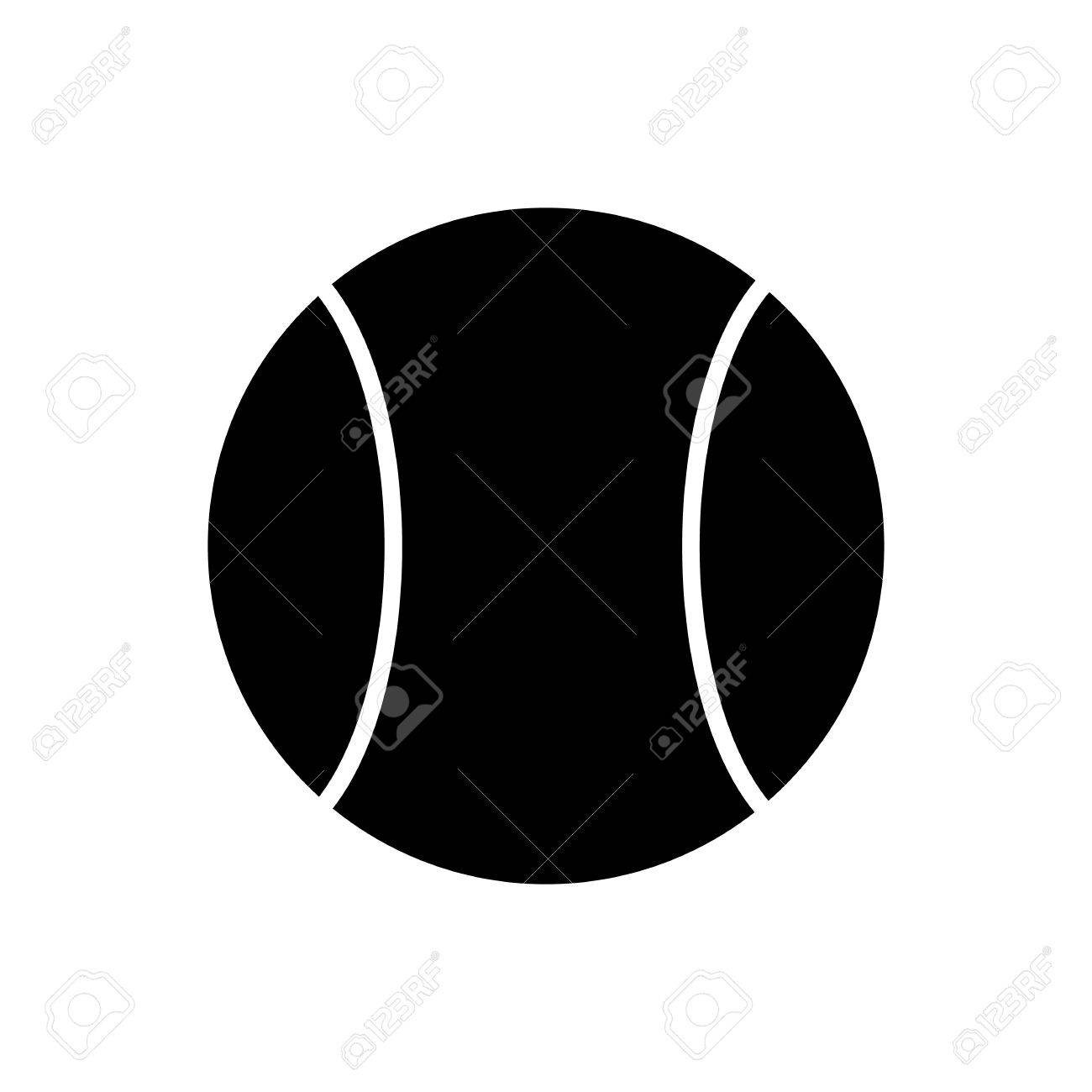 1300x1300 Black Tennis Ball Silhouette Isolated On White Background Stock