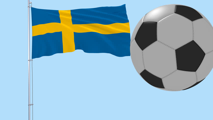852x480 Realistic Fluttering Flag Of Iceland And Soccer Ball Flying Around