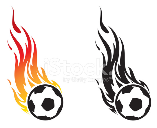 542x440 Flaming Soccer Ball Stock Vector