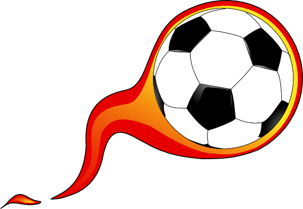 600x415 Free Soccer Ball With Flames Clipart Image