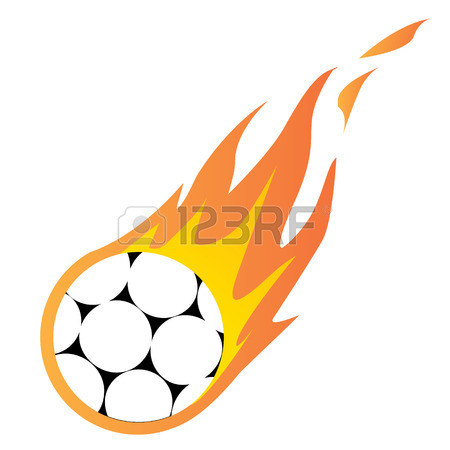 450x450 Illustration Of A Fast Moving Soccer Ball On Fire Royalty Free