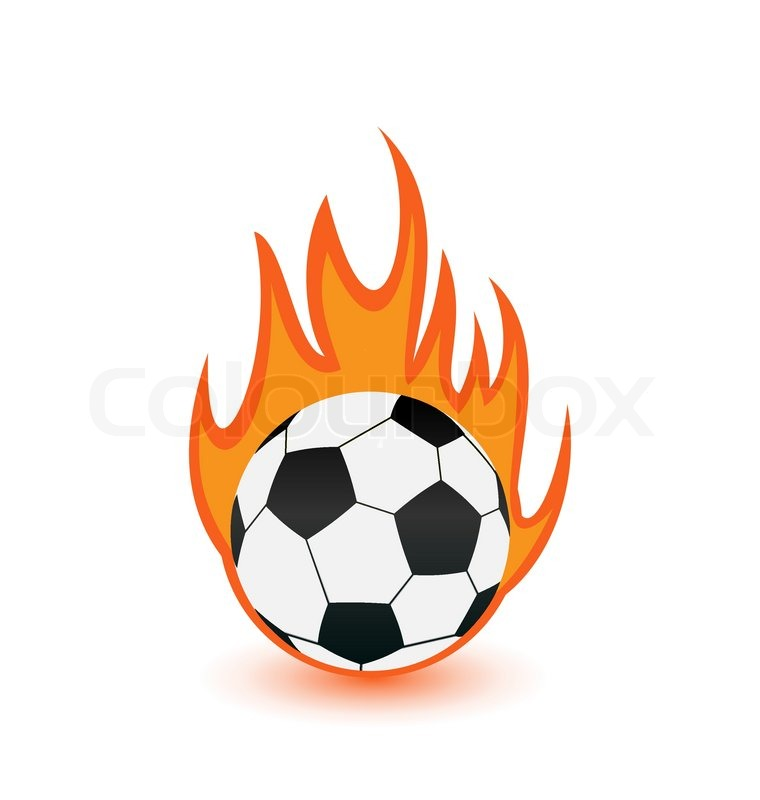 760x800 Illustration Football Balls In Orange Fire Flames