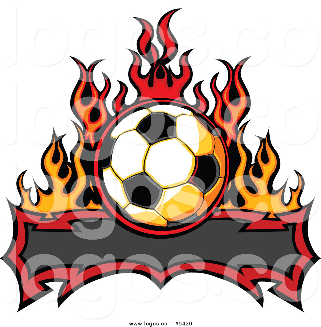 1024x1044 Royalty Free Vector Of A Logo Of A Tribal Banner Under A Soccer