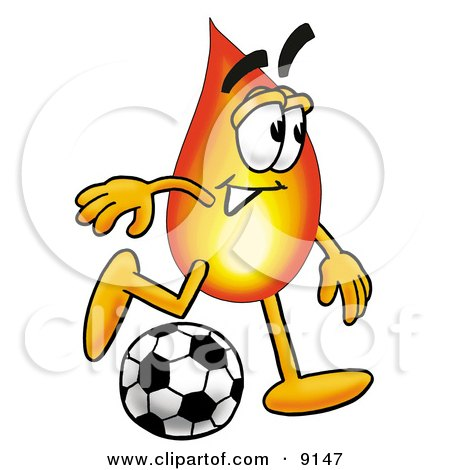 450x470 Clipart Picture Of Flame Mascot Cartoon Character Kicking