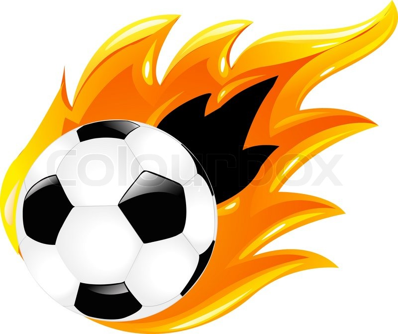 800x671 Soccer Ball And Burning Soccer Ball, Isolated On White Stock
