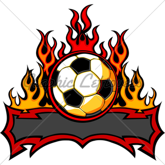 325x325 Soccer Ball Template With Flames Gl Stock Images