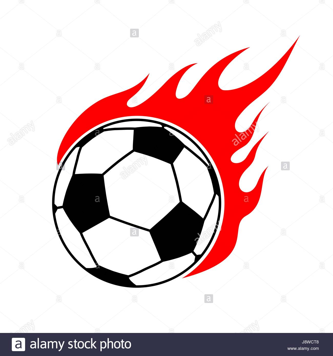 1300x1390 Fire Soccer Ball. Flame Football. Emblem Game Sport Team Stock