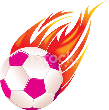 435x439 Flaming Pink Soccer Ball Stock Vector