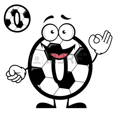 450x450 Cartoon Soccer Or Football Ball Pattern Number Zero With Cheerful