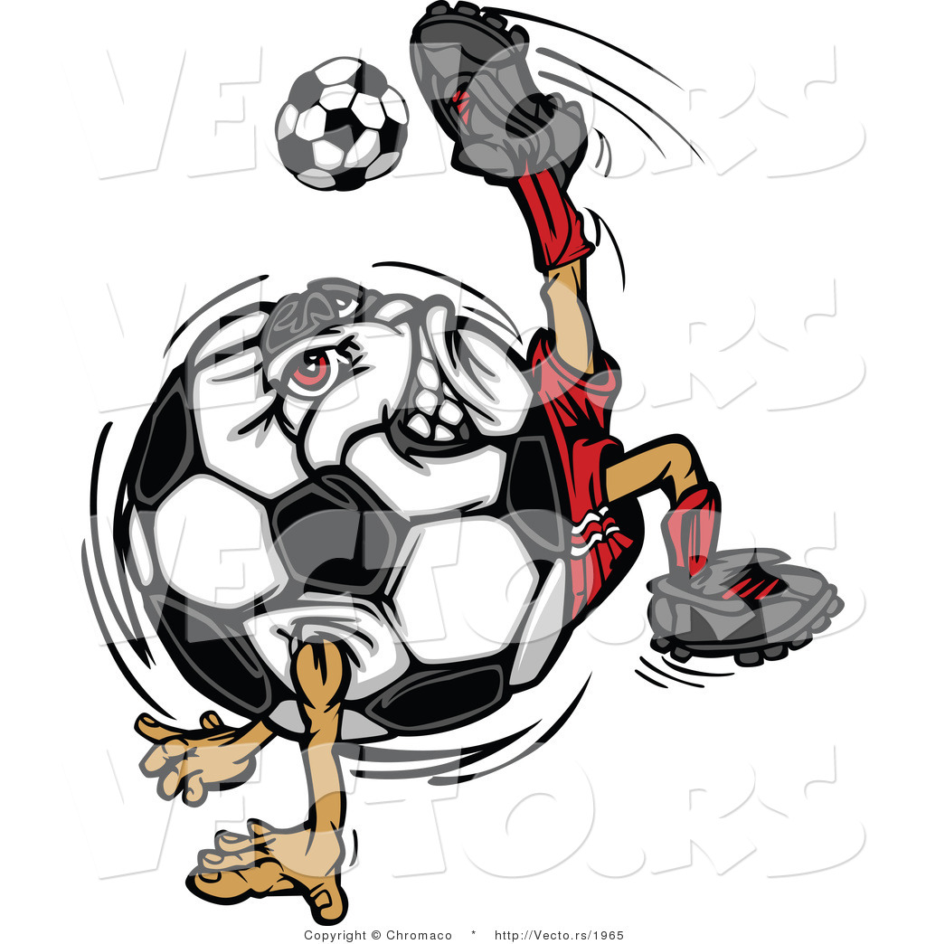 1024x1044 Cartoon Vector Of A Competitive Soccer Ball Mascot Performing