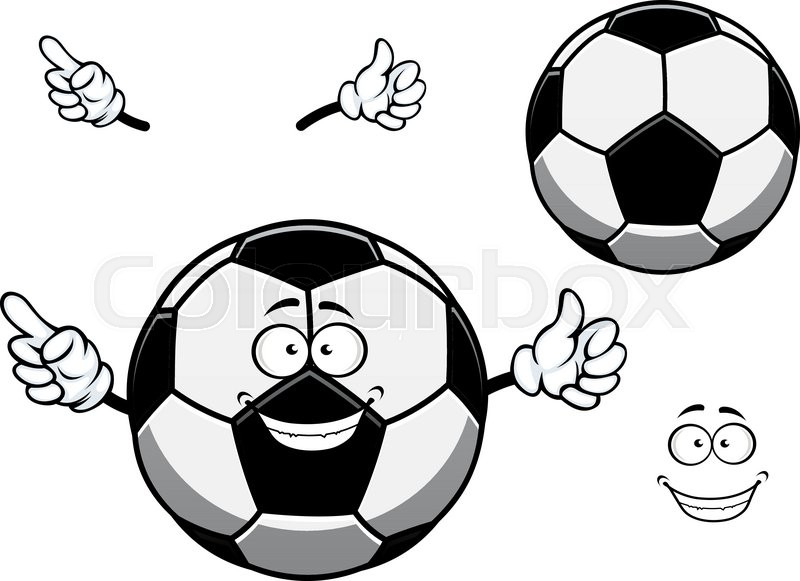 800x581 Cartoon Football Or Soccer Ball Mascot Character With Cheerful