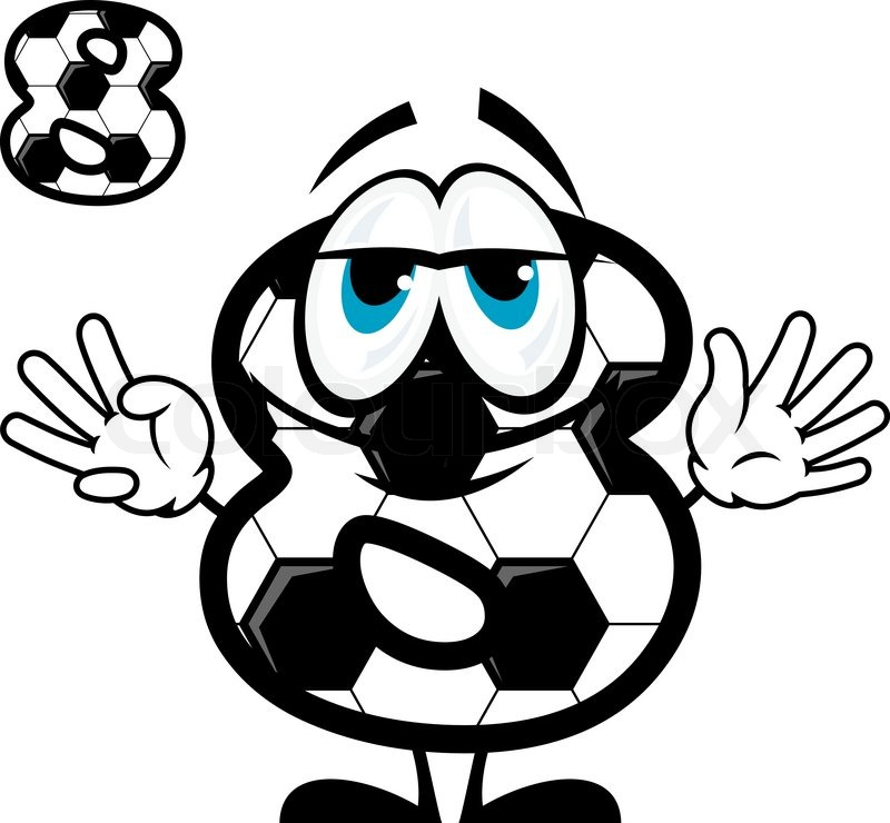800x740 Cute Cartoon Number Eight Character Coloring Like Football