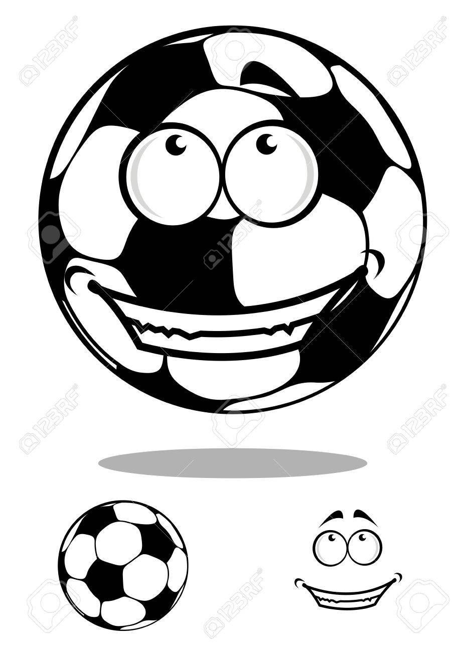 919x1300 Funny Cartoon Football Or Soccer Ball Character With Shadow