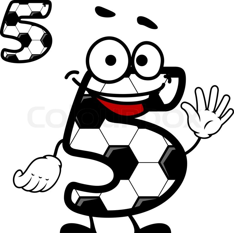 800x796 Happy Cartoon Number 5 Character With A Soccer Ball Hexagonal