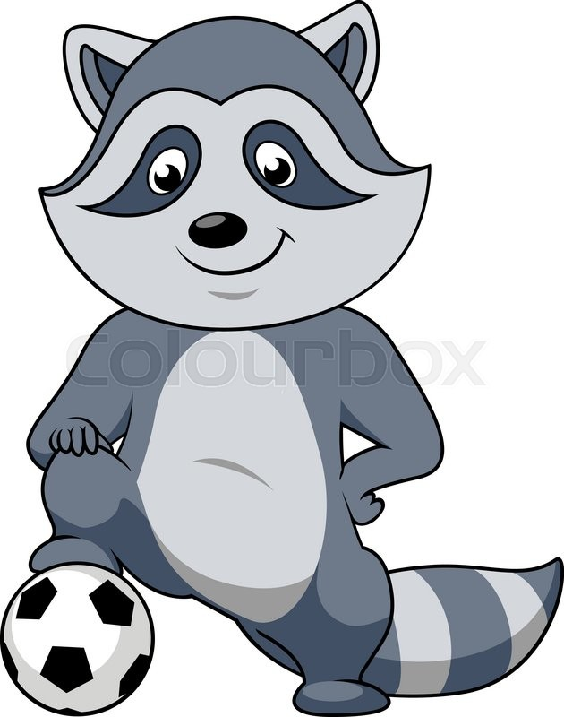 630x800 Playful Smiling Cartoon Raccoon Football Player Character Stands