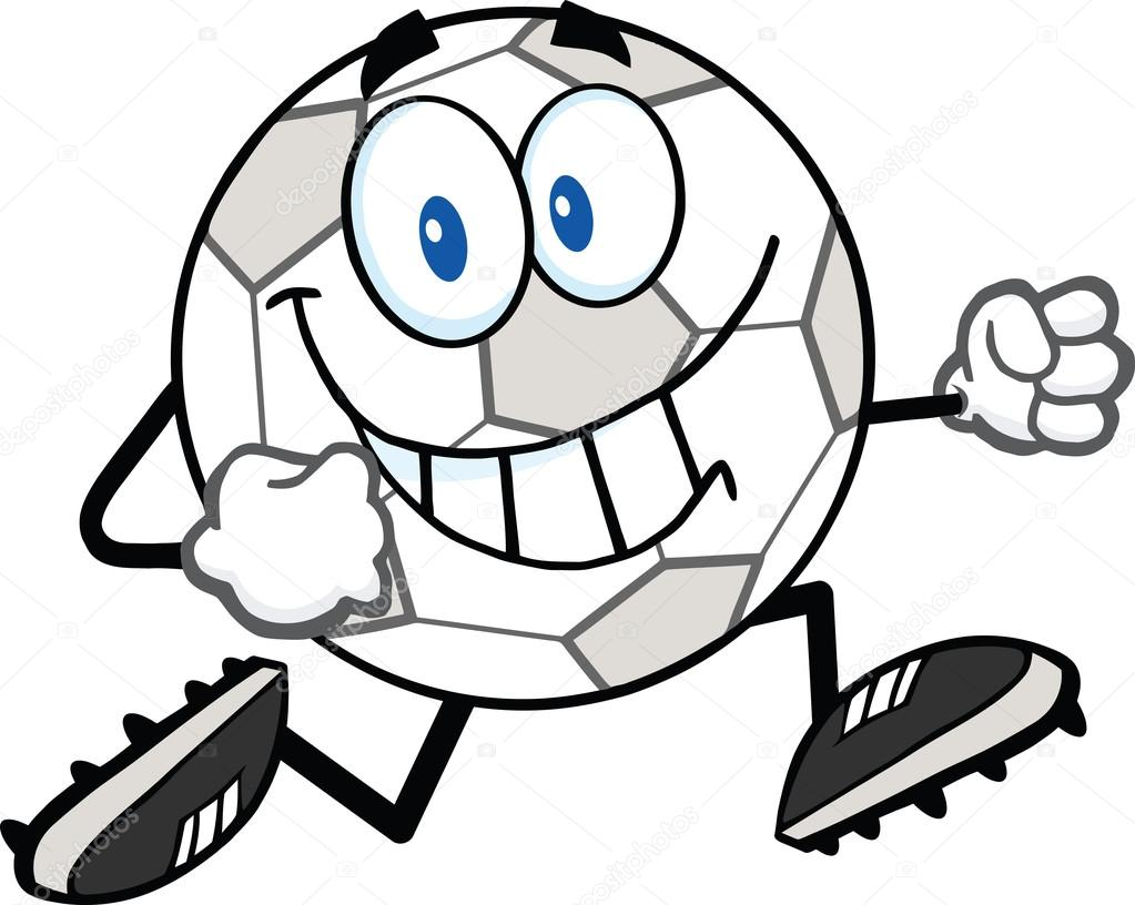 1023x816 Smiling Soccer Ball Cartoon Character Running Stock Photo