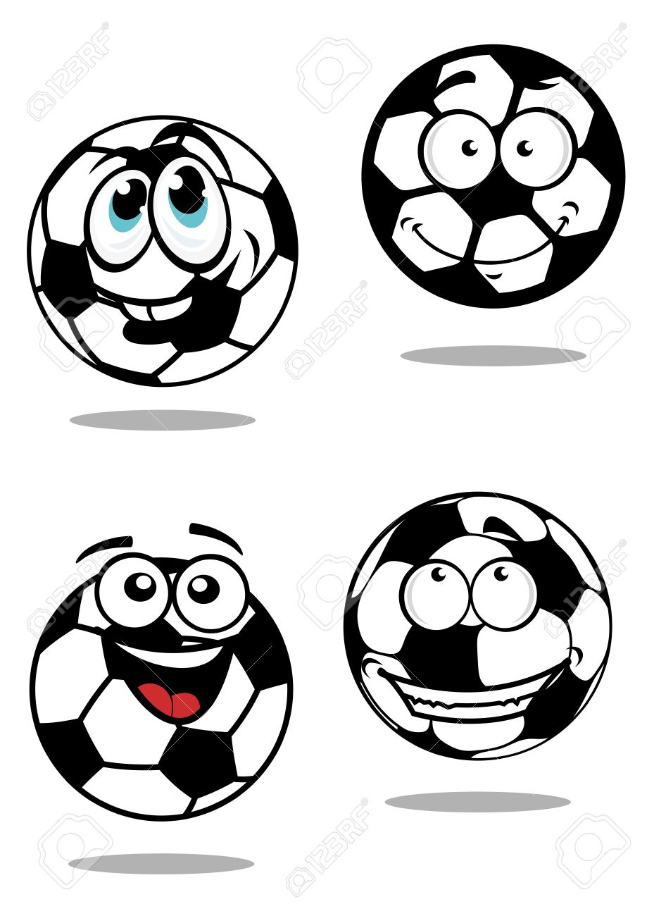 929x1300 Cartoon Soccer Balls Characters With Happy Face On White
