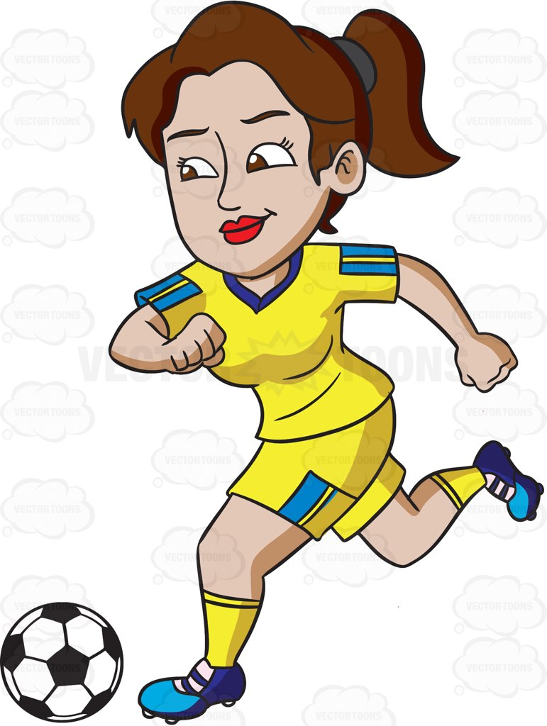 771x1024 A Female Athlete Smiles While Kicking A Soccer Ball Female Athletes