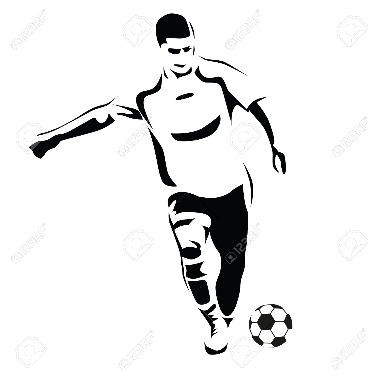 1300x1300 Soccer Player Vector Silhouette. Running Football Player. Kick