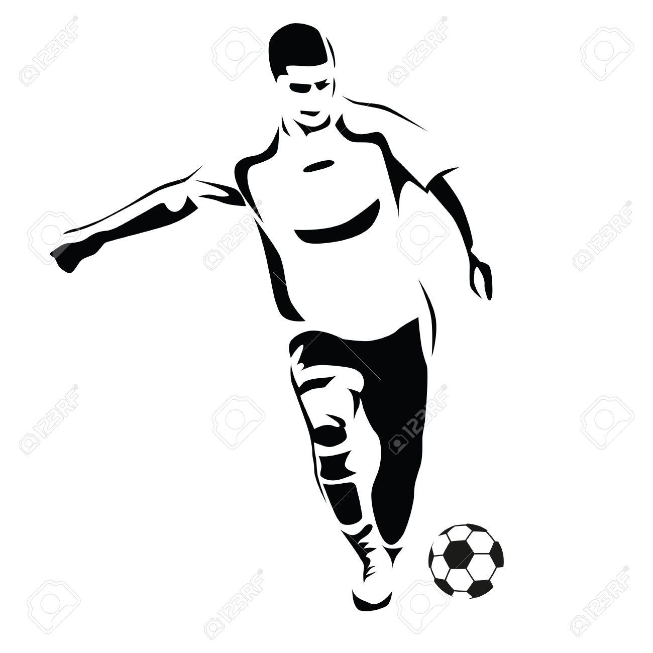 1300x1300 Soccer Player Vector Silhouette. Running Football Player. Kick