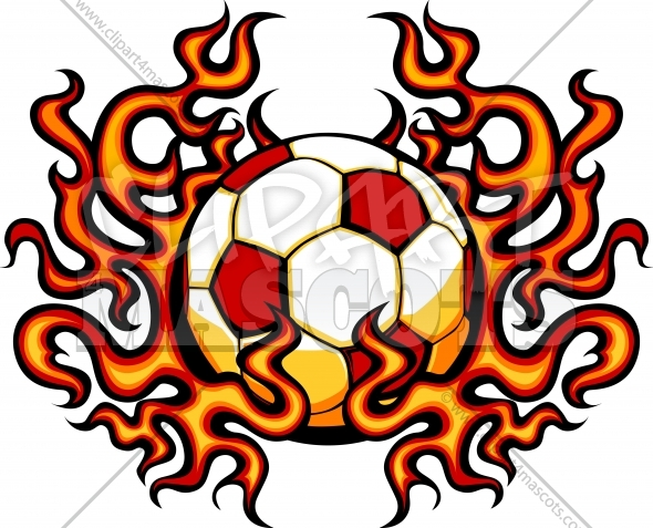 590x477 Soccer Template With Flames Graphic Vector Clipart Logo