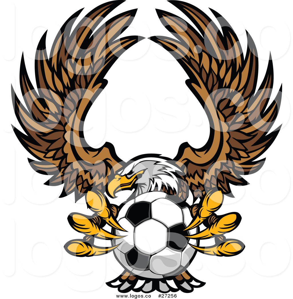 1024x1044 Vector Logo Of A Fierce Bald Eagle Mascot Flying With A Soccer