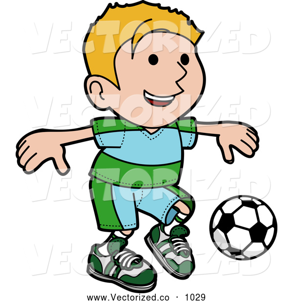 600x620 Royalty Free Clipart Of A Smiling And Happy Blond Boy Ion A Blue