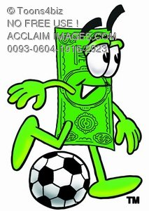 213x300 Stock Clipart Image Of A Cartoon Money Character Playing Soccer