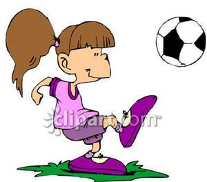 300x264 Girl Hitting Soccer Ball Clipart