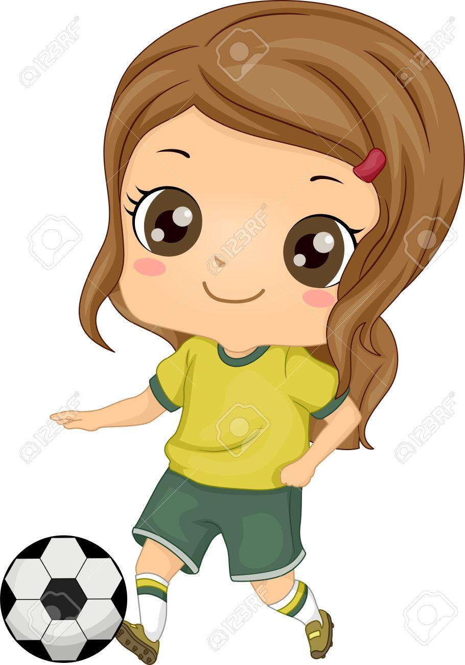 910x1300 Illustration Of Little Kid Soccer Girl Kicking A Soccer Ball Stock