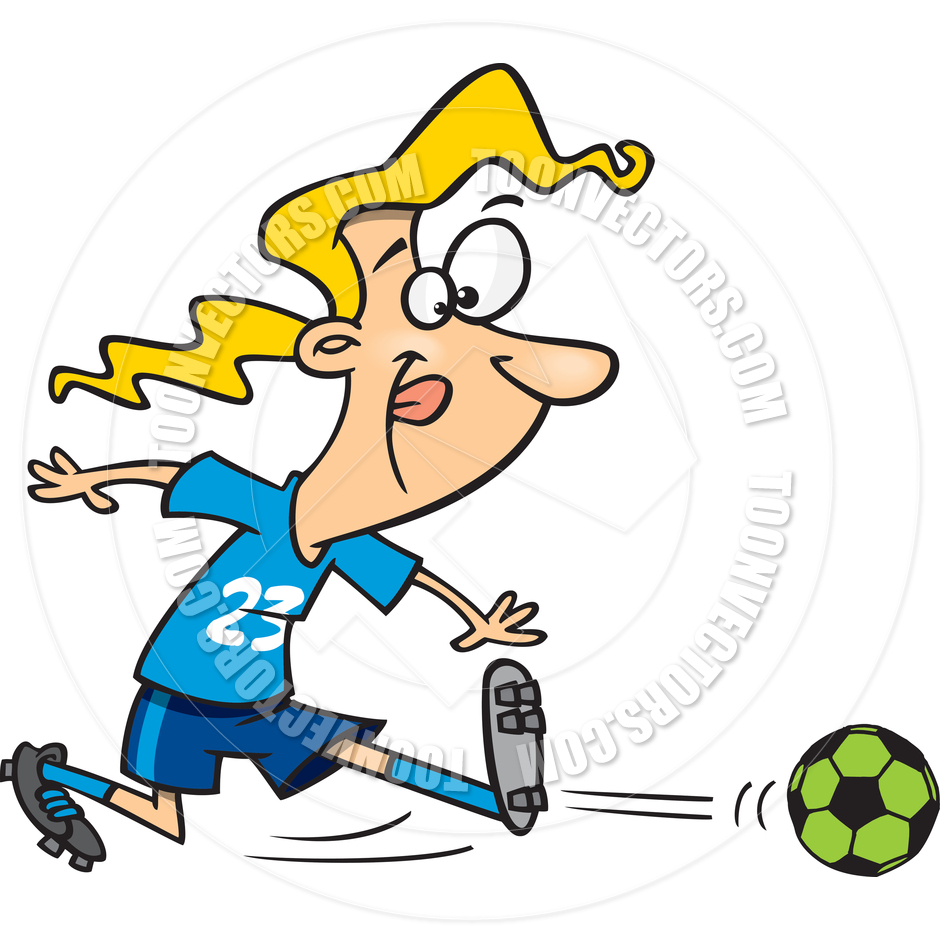 940x940 Cartoon Teen Girl Playing Soccer By Ron Leishman Toon Vectors