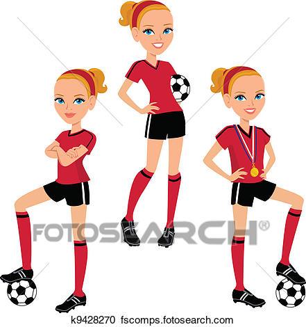 441x470 Clipart Of Cartoon Soccer Girl 3 Poses K9428270