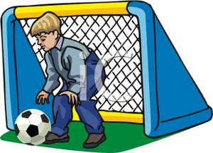 300x215 Art Image A Boy Guarding the Soccer Goal