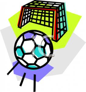 283x300 Art Image A Soccer Ball Rolling Towards a Goal Net