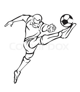 280x320 Black And White Drawing Of Football Player Stock Vector Colourbox